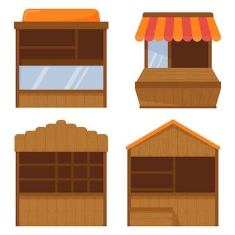 나무 시장 마구간, 공정한 부스. 빈 키오스크 거리 거래, 야외 소매용 나무 카운터입니다. 벤더 스톨. 벡터