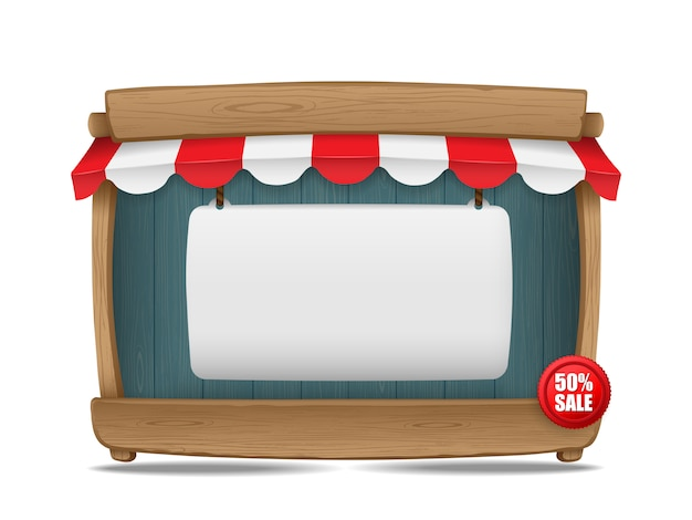 Wooden market stall with awning and blank board, vector illustration