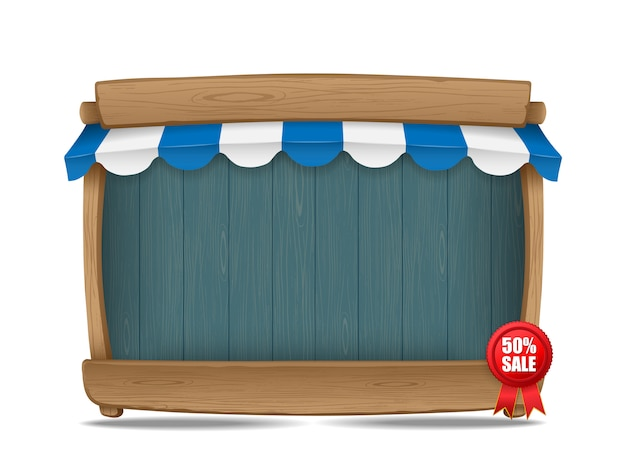 Wooden market stall with awning, vector illustration