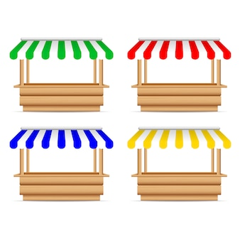 Wooden market stand stall with different sunshade.