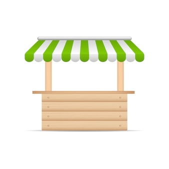Wooden market stand stall with green and white sunshade.