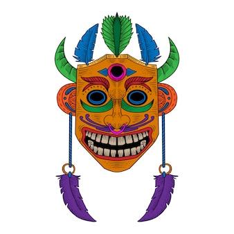 Деревянная маска фестиваль рисованной иллюстрации