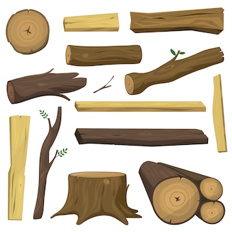 Wooden materials tree logs