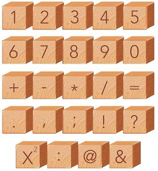 Wooden number block font symbol