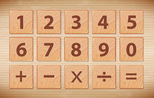 木製の数字のフォント記号