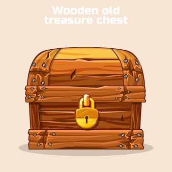 Wooden old antique treasure chest