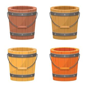 Wooden old bucket   illustration  on white background