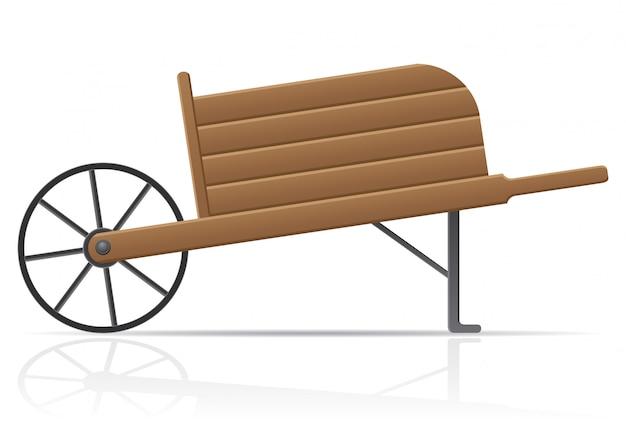 Wooden old retro garden wheelbarrow.