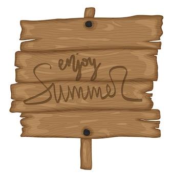 白い背景で隔離のレトロな漫画スタイルの木製の古い看板。夏をお楽しみください。