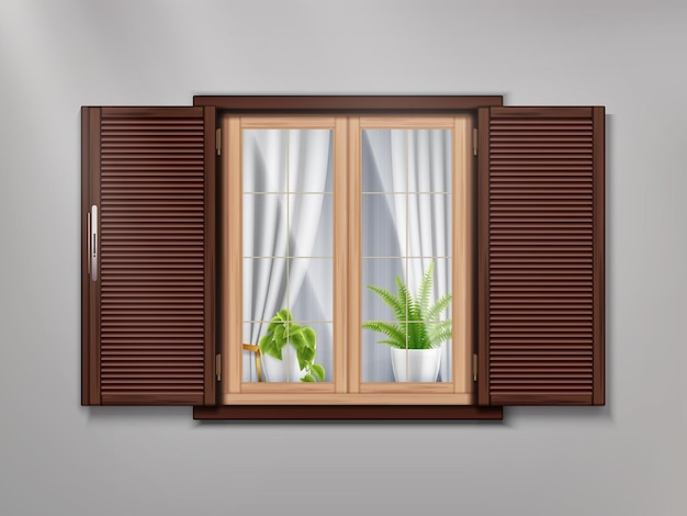 Wooden old window with beautiful curtains and potted plants