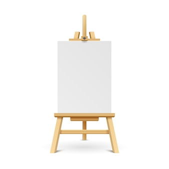 Wooden paint board with white empty paper frame. art easel stand with canvas vector illustration.