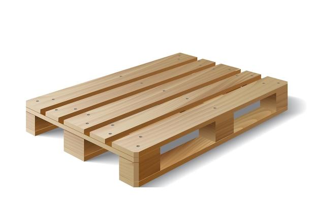 白で隔離される木製パレット Premiumベクター