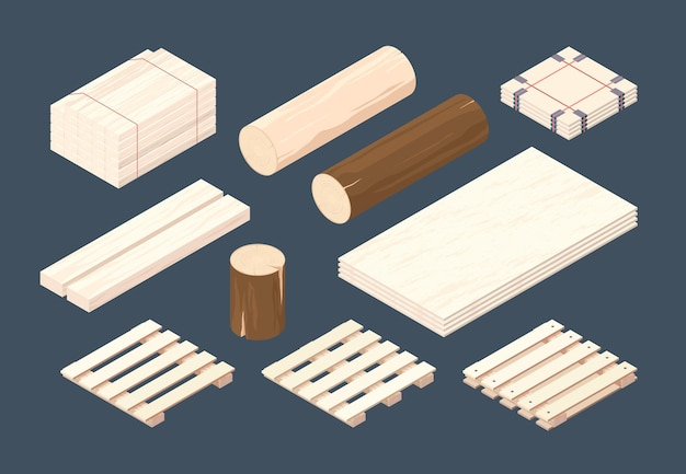 Wooden pallet. isometric cargo containers and packages timber wooden set.