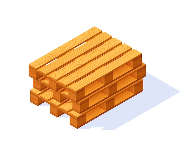 Wooden pallet isometric icon.  isolated on a white background in flat style.