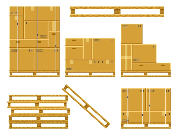 Wooden pallet with cardboard boxes illustrations