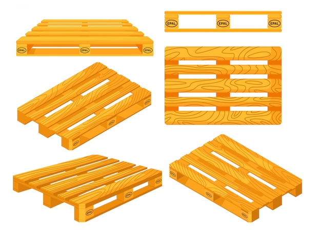 Wooden pallets. top, front, side, perspective and isometric views of wooden pallet objects set. platforms for freight transportation collection. cargo logistics and distribution