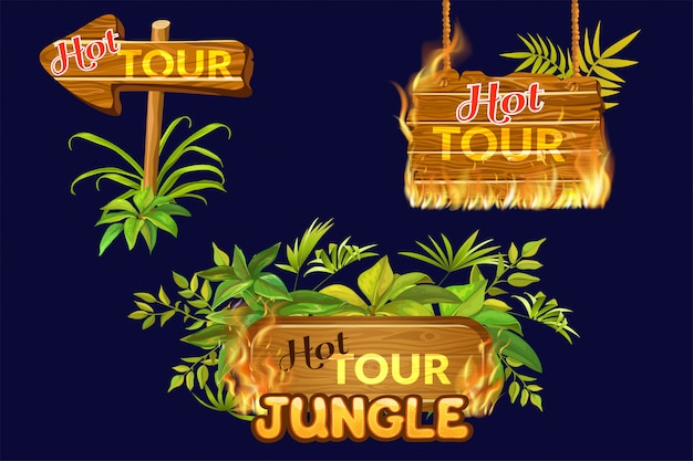 Wooden panels of hot tour with flame burn