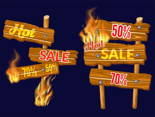 Wooden panels of sale with flame burn.