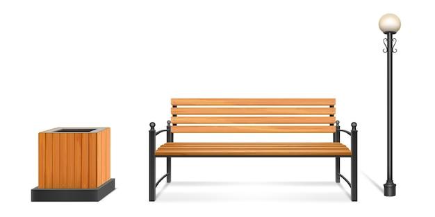 나무 공원 벤치, 가로등 및 쓰레기통, 단조 다리와 팔걸이가있는 야외 목재 좌석, 금속 기둥에 랜턴 및 쓰레기통. 도시 또는 공원 보도 가구. 현실적인 3d 세트