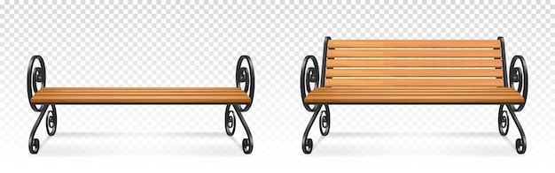 木製の公園のベンチ、装飾的な華やかな鍛造金属製の脚とアームレストを備えた屋外の茶色の木製シート。透明な背景に分離された庭や歩道の家具。リアルな3dイラスト