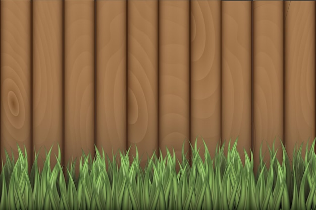 Микс деревянного узора с зеленой травой
