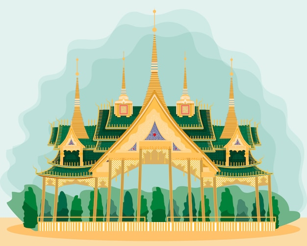 Wooden pavilion in thai style. postcard.