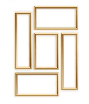 木製フォトフレームコレクション。画像またはテキスト用の3d額縁デザイン
