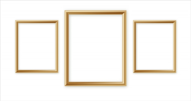 Wooden photo frame collection. 3d picture frame design for image or text