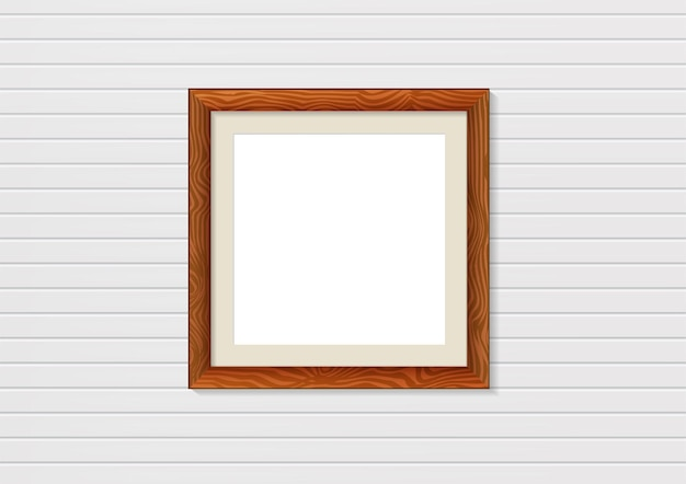 Wooden photo frame mockup on wall. interior decoration