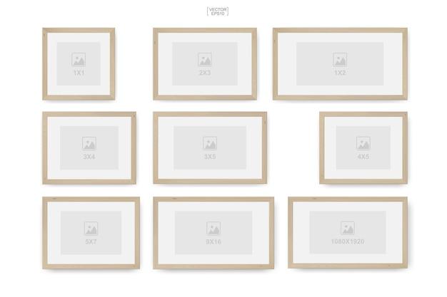 インテリアデザインや装飾用の木製フォトフレームまたは額縁。ベクトルイラスト。