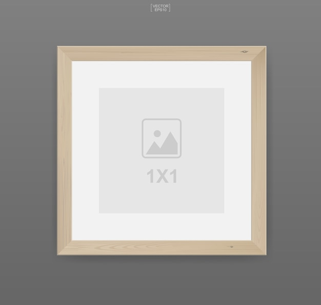Wooden photo frame or picture frame on gray background