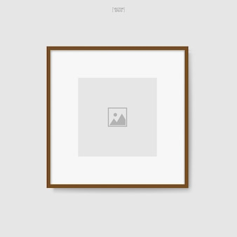 Wooden photo frame or picture frame for interior design and decoration. vector illustration.