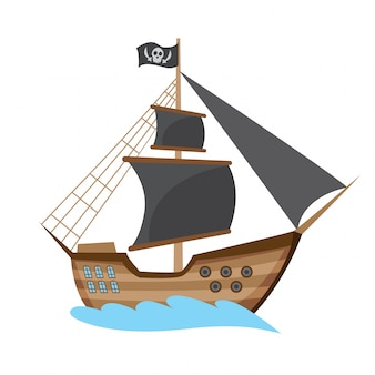 Wooden pirate buccaneer filibuster corsair sea dog ship icon game