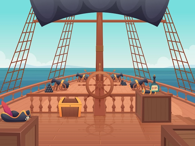 Wooden pirate ship. captain bridge with steering wheel vintage shipping board vector cartoon illustration. sail boat wooden, navigation transportation, wood decks ship