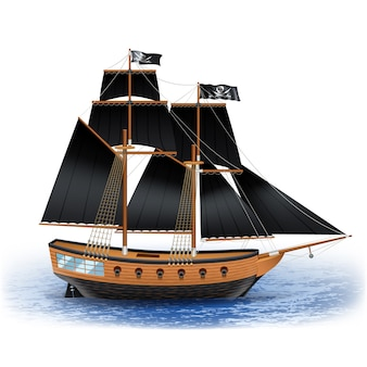 Wooden pirate ship with black sails and Jolly Roger flag at sea