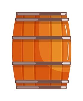 고립 된 알코올에 대 한 황동 반지와 나무 판자 오크 배럴