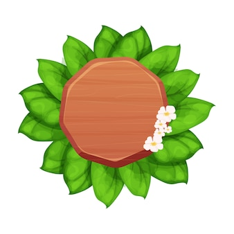 漫画の葉と花のエキゾチックなジャングルの装飾と木の板の丸い看板フレーム