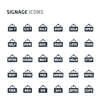 Wooden plank signage icon set. fillio black icon series.