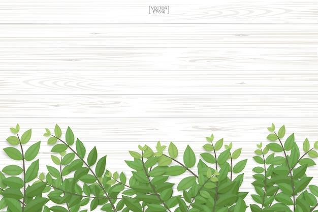 木の板の質感と緑の葉