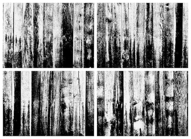 Wooden plank texture set. black and white texture. overlay texture of rusted metal.