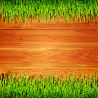 Wooden planks with green grass  background