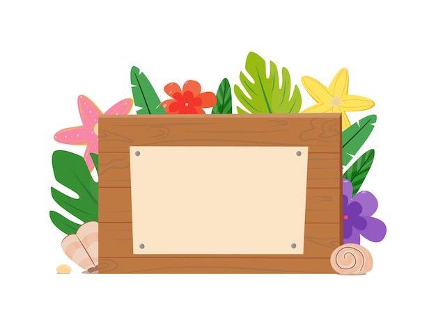 Wooden plaque with a place for notes. cartoon design element for advertisements, announcements, stickers, pointers, price tags. tropical and summer theme. vector illustration, flat