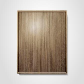 木製プレートデザイン要素、3dイラストの壁にぶら下がっている空の木製フレームまたはプレート