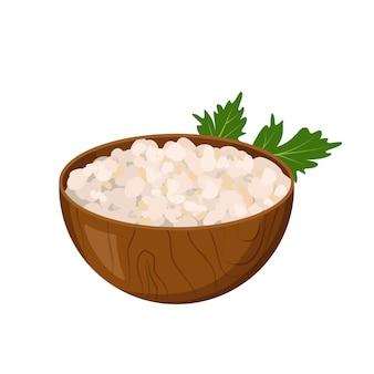 Деревянная тарелка с творогом и веточкой петрушки. значок творога. источник витамина а. здоровое питание и завтрак. фермерский продукт