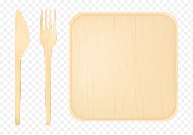 Wooden plate with fork and knife top view clip art