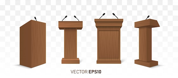 Wooden podium tribune rostrum stand with microphones isolated