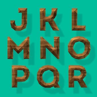 木製の多角形のアルファベットパート2ベクトル図
