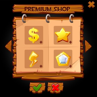 Wooden pop-up window shop for games.  illustration of a wooden board with icons for shopping.