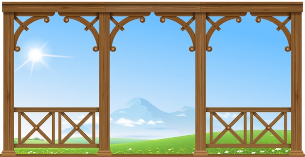 Wooden porch at the mountains