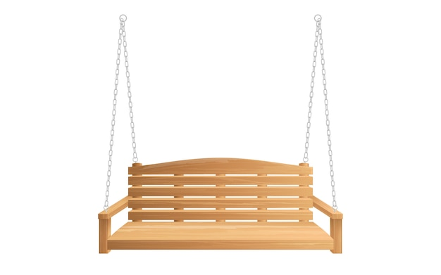 Wooden porch swing bench hanging on chains